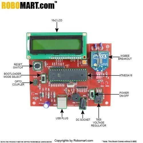 X-BEE Trainer Board With ATmega16/32 Version 1