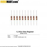 1.2 kilo ohm 1/4 watt Resistance (Pack of 10)