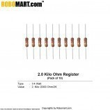2.0 kilo ohm-1/4 watt Resistance (pack of 10)