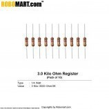 3.0 kilo ohm 1/4 watt Resistance (pack of 10)