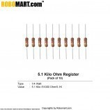 5.1 kilo ohm 1/4 watt Resistance (pack of 10)