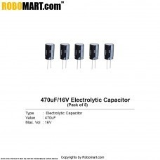 470µF 16v Electrolytic Capacitor (Pack of 5)