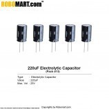 220uF/25V Electrolytic Capacitor (Pack of 5)