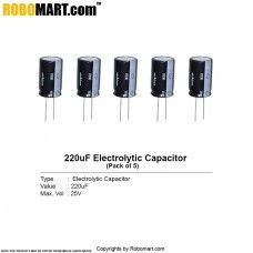 220µF 25v Electrolytic Capacitor (Pack of 5)