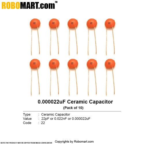 22pf Ceramic Non Polarized Capacitor Online India Robomart