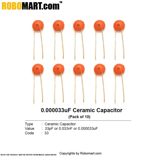 33pf Ceramic Non Polarized Capacitor Online India Robomart