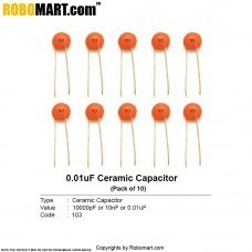 10000pF (103pF) Ceramic Capacitor (Pack of 10)