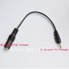 DC Power Jack 5.5x2.1mm Female to 2.5x0.7mm Male Plug Cable plug adapter