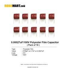 2.7nF/ 0.0027uF/100v 2A272J Polyester Film Capacitor (Pack of 10)