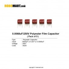 682pF 250v 682K Polyester Film Capacitor (Pack of 5)