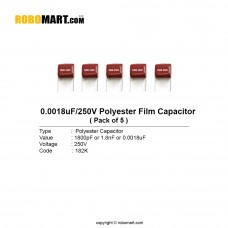 1800pF 250 volt 182K Polyester Film Capacitor (Pack of 5)