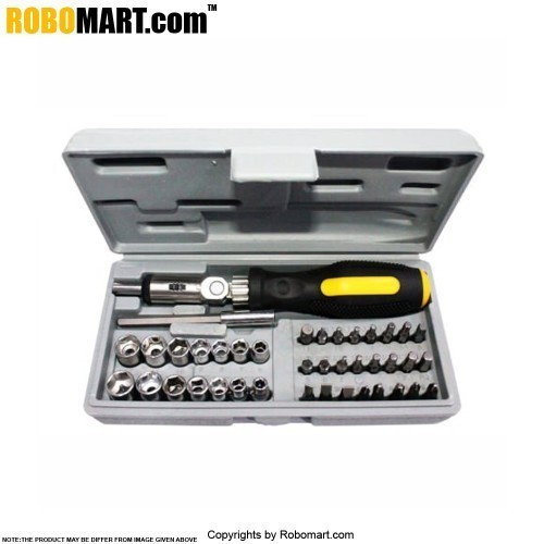 41 pc combination tool set with bits and sockets