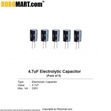 4.7µF 200v Electrolytic Capacitor (Pack of 5)