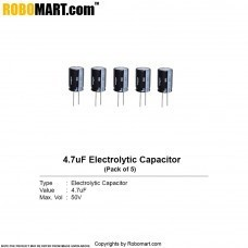 4.7µF 50v Electrolytic Capacitor (Pack of 5)