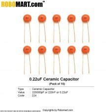 220000pF (224pF) Ceramic Capacitor (Pack of 10)
