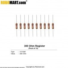 300 ohm 1/4 watt Resistor (Pack of 10)