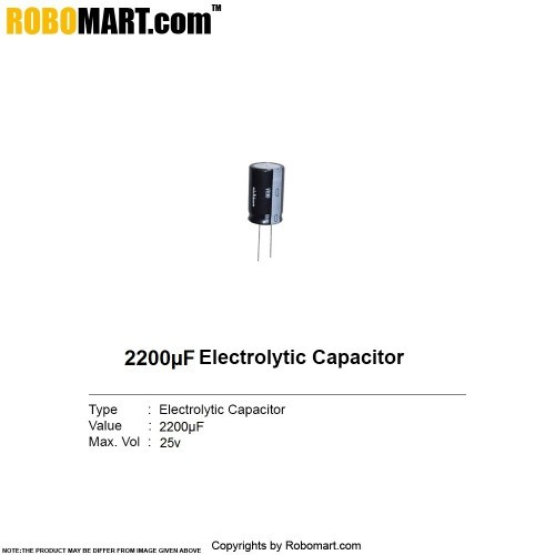 2200µF 25v Electrolytic Capacitor