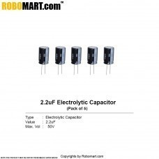 2.2µF 50v Electrolytic Capacitor (Pack of 5)