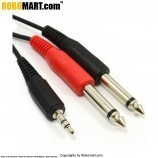 3.5mm Jack to Mixer 2 x 6.35mm Mono Jacks Cable Lead 1m