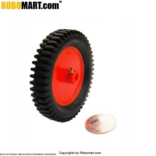 "Robosapiens 3'' Tyre + 2"" Plastic Pully (6 MM Shaft)"