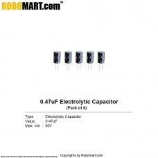 0.47µF 50v Electrolytic Capacitor (Pack of 5)