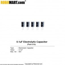 0.1µF 50v Electrolytic Capacitor (Pack of 5)