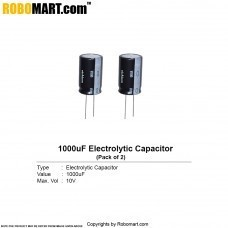 1000μF 10v Electrolytic Capacitor (Pack of 2)