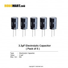3.3µF 50v Electrolytic Capacitor (Pack of 5)
