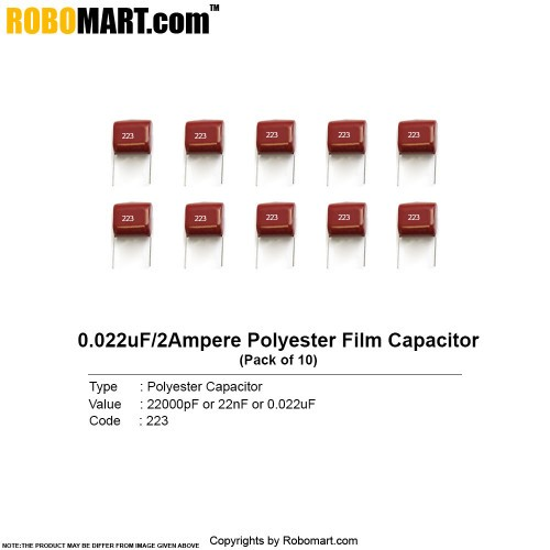 22000pf 2amp polyester film capacitor