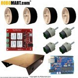 4 Wheel Robotic Platform with Robomart Arduino Board ATMEGA8 and High Current Dual DC Motor Driver Board