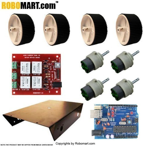 4 Wheel Robotic Platform With Robomart Arduino Board ATMEGA8 And High Current Dual DC Motor Driver