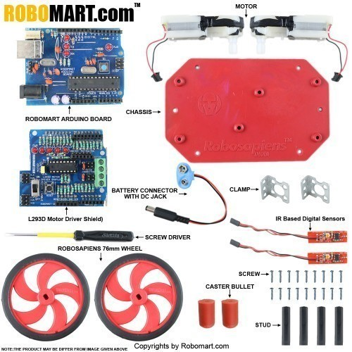 Buy Online Arduino Line Follower Robotics Kit Using Robomart Arduino