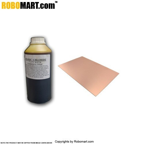 200 ml ferric chloride pcb etching solution plus 3 pcs copper pcb of 18 cm x 12 cm size