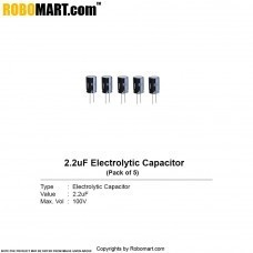 2.2µF 100v Electrolytic Capacitor (Pack of 5)