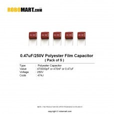 0.47uF 250v Polyester Film Capacitor (Pack of 5)