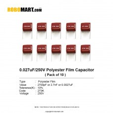 0.027uF 250v Polyester Film Capacitor (Pack of 10)