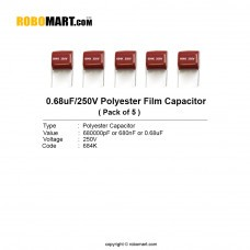0.68uF 250v Polyester Film Capacitor (Pack of 5)