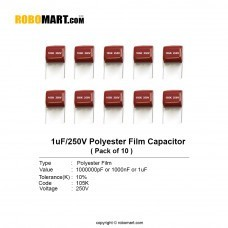1uF 250 volt Polyester Film Capacitor (Pack of 10)