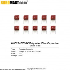 2200pF 630v (222pF) Polyester Film Capacitor (Pack of 10)