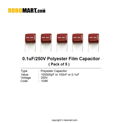 0.1uF 250 volt Polyester Film Capacitor (Pack of 5)