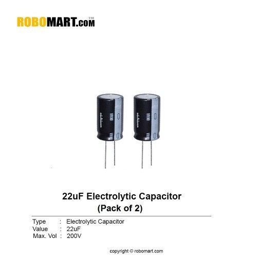22µf 200v electrolytic capacitor