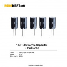 10µF 250v Electrolytic Capacitor (Pack of 5)