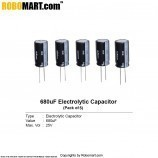 680µF 25v Electrolytic Capacitor (Pack of 5)