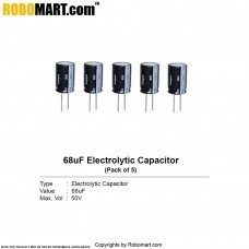 68µF 50v Electrolytic Capacitor (Pack of 5)