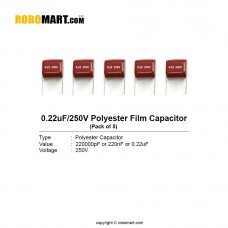 0.22uF 250v Polyester Film Capacitor (Pack of 5)