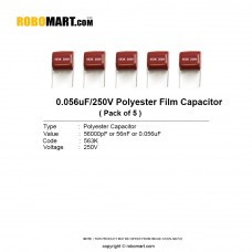 0.056uf 250v (563pF) Polyester Film Capacitor (Pack of 5)