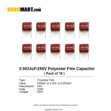 0.0033uF 250v Polyester Film Capacitor (Pack of 10)