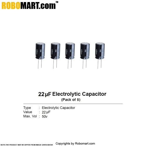 22µF 50v Electrolytic Capacitor (Pack of 5)