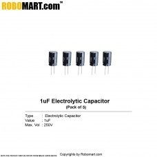 1µF 250v Electrolytic Capacitor (Pack of 5)