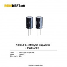 1000µF 25v Electrolytic Capacitor (Pack of 2)